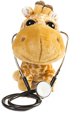 Plush toy giraffe with stethascope